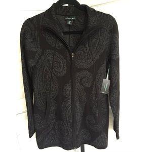 🆕Cynthia Rowley Med Tunic Cardigan Gray Paisley